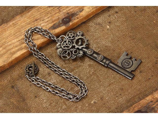 Steampunk Large Antique Key Gear Costume Necklace Adult One Size