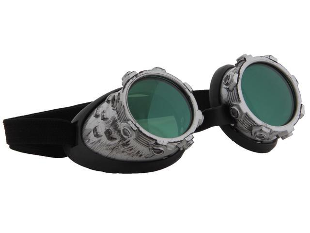 Steampunk CyberSteam Costume Goggles Silver Green Adult One Size