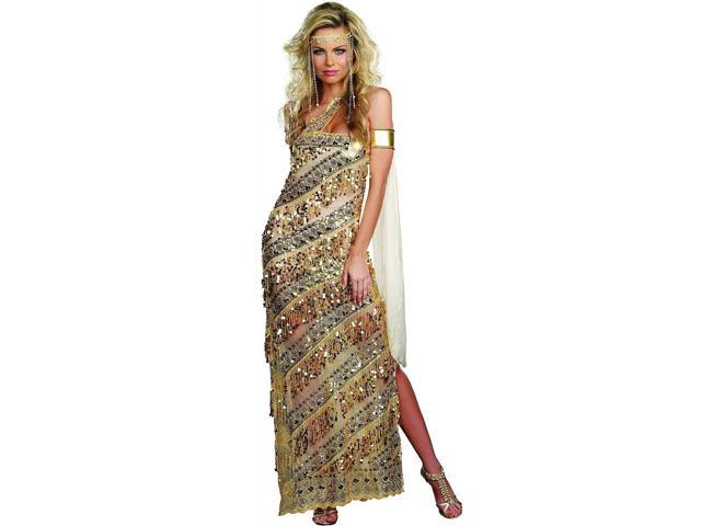 Sexy Golden Greek Goddess Sequin Dress Costume Adult Large 10-14