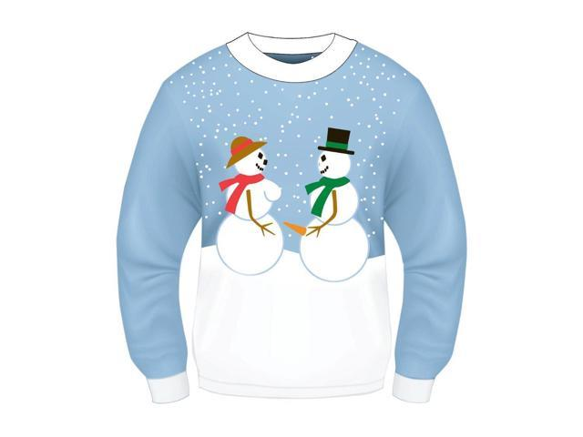 Ugly Christmas Snow Couple Adult Sweater X-Large