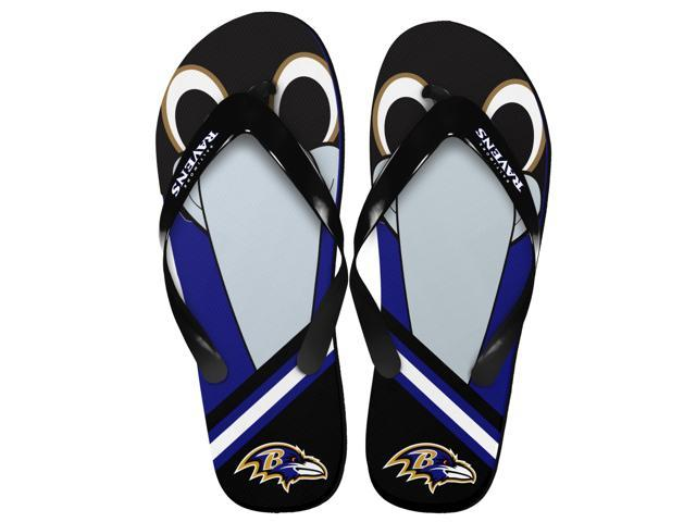 Baltimore Ravens NFL 8-16 Youth Mascot Flip Flops Small (11-12)