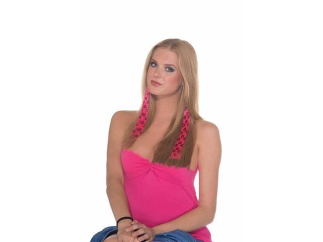 2-Piece Costume Hair Extensions: Hot Pink Leopard Print One Size