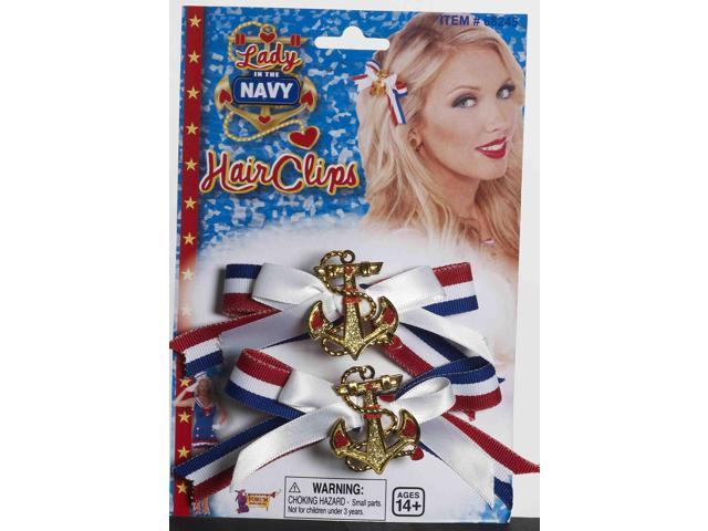 Lady In The Navy Patriotic Costume Hair Bow Set With Anchor Charm One Size