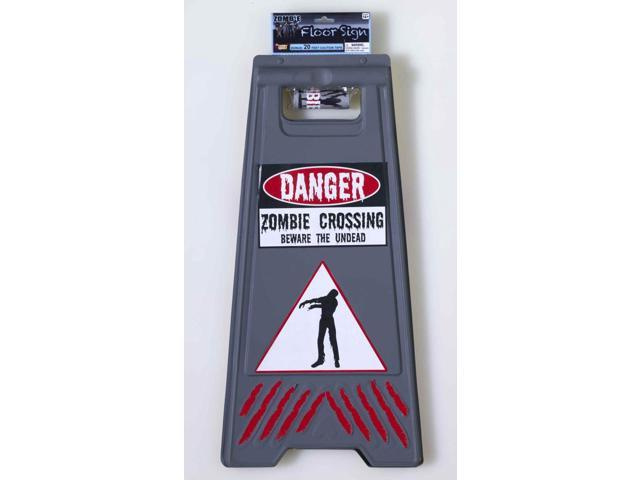 Danger Zombie Crossing Sign & Warning Tape Halloween Prop Decoration