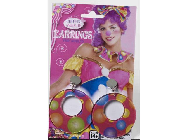 Circus Sweetie Polka Dot Costume Earrings One Size