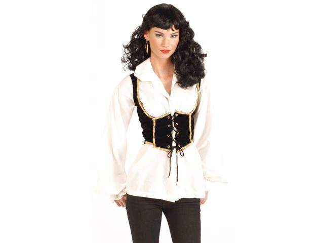 Black And Gold Pirate Wench Corset Costume Vest One Size