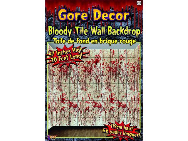 20' x 4' Bloody Tile Wall Backdrop Halloween Party Decoration One Size