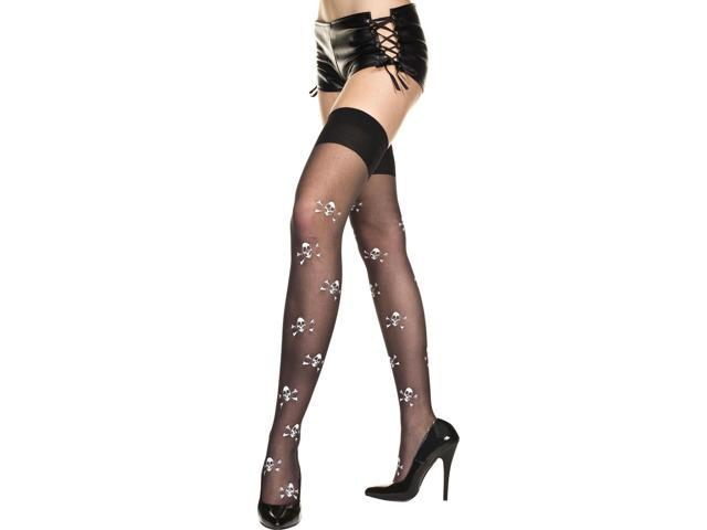 Sheer Crossbone Prints Thigh Hi Nylon Stocking Costume Hosiery One Size