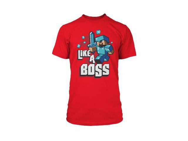 Minecraft Like A Boss Premium Red T-Shirt Youth Large