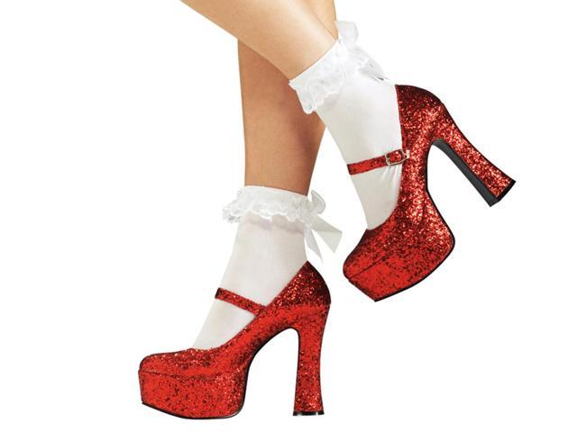 Wizard Of Oz Sexy Dorothy Shoes Red Glitter Costume Large