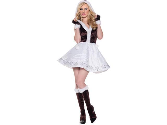 Ice Faux Fur Eskimo Princess Sequin Mini Dress Costume Adult Large