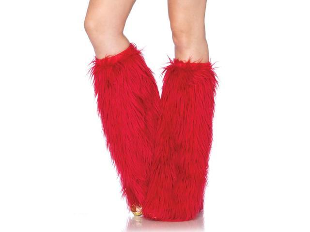 Furry Costume Leg Warmers: Red One Size