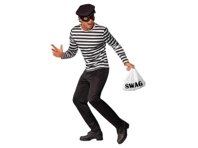Classic Black & White Striped Bank Robber Costume Adult Large Large