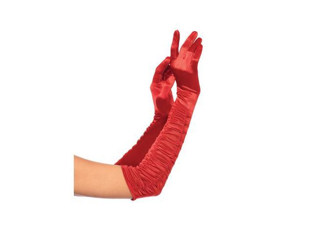 Red Opera Length Ruched Satin Costume Gloves Adult One Size
