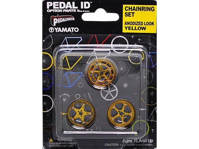 Pedal Id 1:9 Scale Bicycle: Chain Ring Set: Anodized Look Yellow