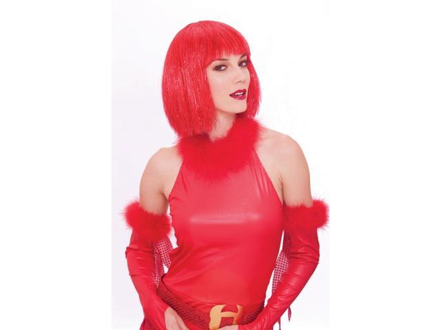 Glitzy Glamour Bob Red Adult Costume Wig One Size