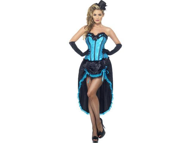 Sexy Burlesque Dancer Costume Dress Adult: Black & Blue Small