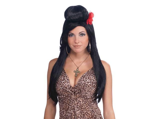 Jersey Guidette Long Black Adult Costume Wig One Size