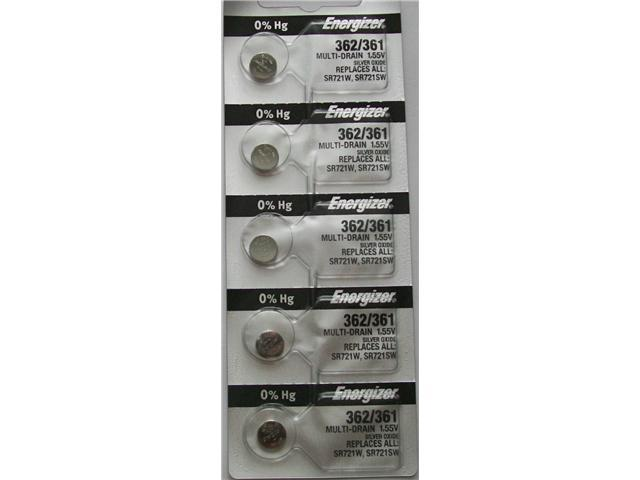 Energizer Battery 362/361 SR721SW  Silver Oxide 1.55V ( Pack of 5 Batteries)