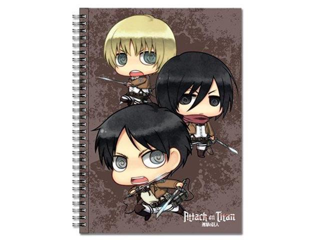 Notebook - Attack on Titan - Chibi Eren, Mikasa, Armin Spiral Anime ge43172