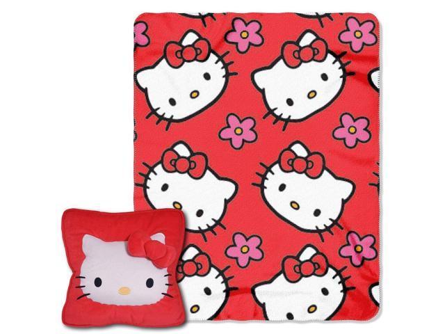 Hello Kitty Pillow And Throw Blanket Set : Square Pillow & Throw Set - Hello Kitty - Flowers Fleece Blanket New 286672-Newegg.com