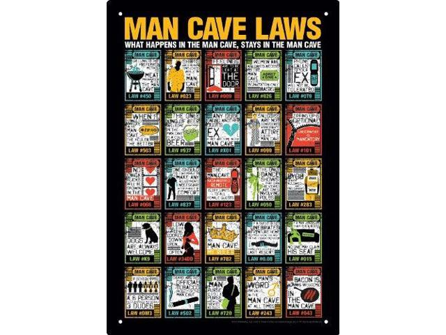 Man Cave Gadgets N Gifts : Tin sign man cave laws metal plate new licensed gift