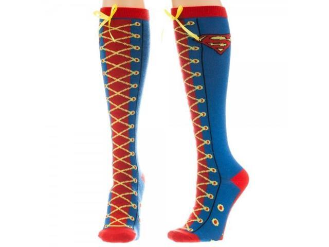 Knee High Sock - Superman - Faux Lace Up Anime Licensed kh1k5vspm
