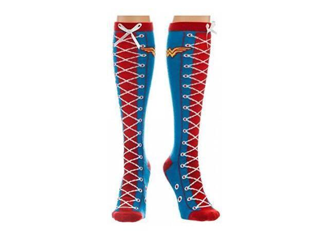 Faux Lace Up Knee High Socks - DC Comics - Wonder Woman New kh1k5udco
