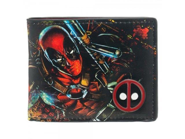 Wallet - Marvel - Deadpool Bi-Fold w/ Metal Badge New Licensed mw1dmnmve