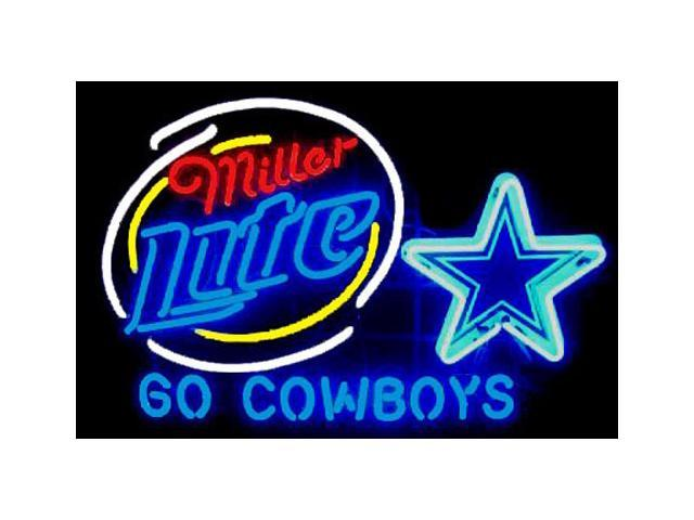 Fashion Neon Sign Miller Lite Dallas Cowboys Handcrafted