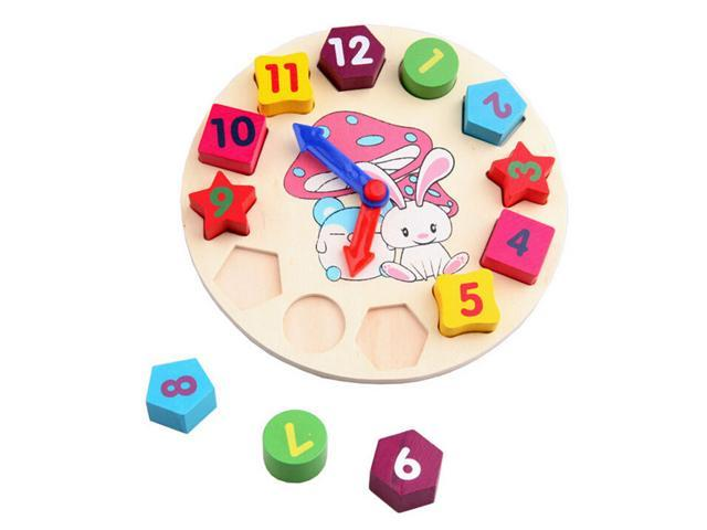 1 Pcs Wooden Puzzle Toy Digital Geometry Clock Blocks Children Educational Toy