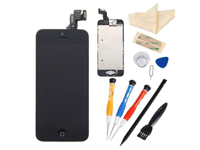 Black LCD Touch Screen Digitizer Assembly with Small Parts (Home Button & Camera & Flex Cable Sensor) + Free Repair Tool Kits for Iphone 5C