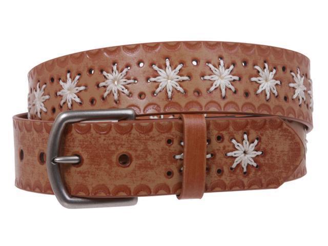 snap on flower embossing vintage leather belt newegg