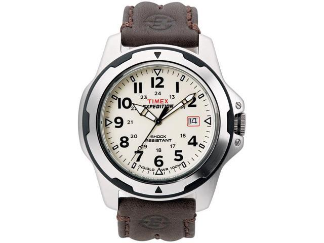 Timex Men's Expedition | Silver-Tone Case Leather Strap | Rugged Shock T49261