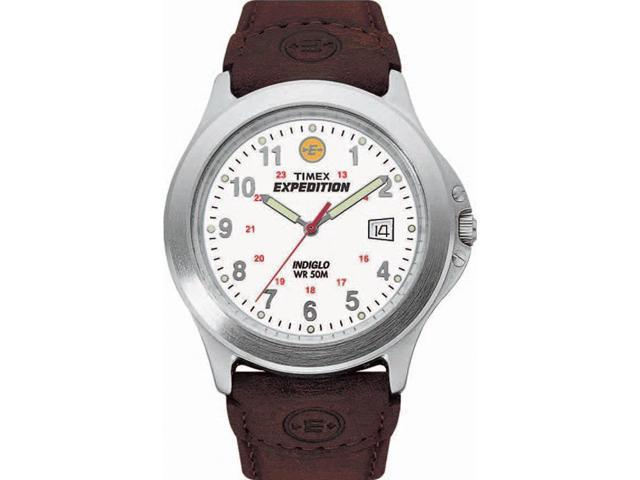 Timex Men's Expedition | White Dial Leather Strap 50m Water Resistant | T44381