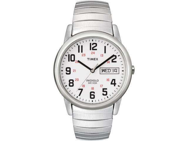 Timex Men's | Silver-Tone Case & Band w Day/Date | Easy Reader Watch T20461
