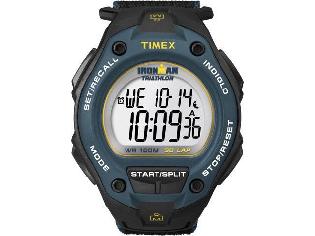 Timex T5K413 Men's Ironman 30-Lap Oversize Black Case Blue Bezel Sports Watch