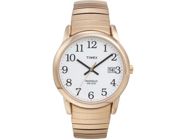 Timex Men's Easy Reader Gold-Tone Case & Expansion Band White Dial Watch T2H301