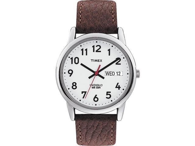 Timex Men's | Brown Leather Strap & Silver-Tone Case | Easy Reader Watch T20041