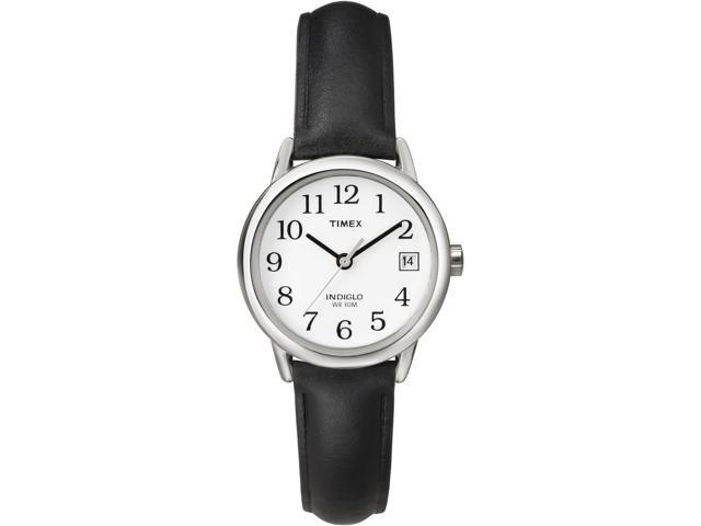 Timex Women's | White Dial and Black Leather Strap | Easy Reader Watch T2H331