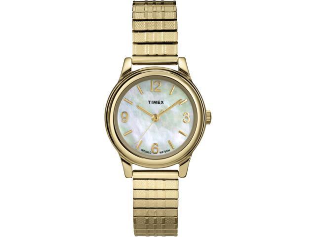 Timex  Women's Elevated Classics Dress | Gold-Tone w Mother of Pearl Dial T2N843