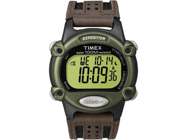 Timex Men's Expedition | Leather Strap Green Case | Digital Rugged Watch T48042