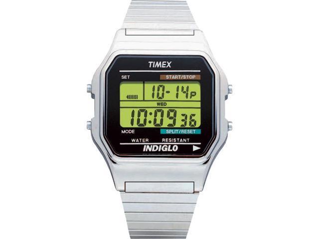 Timex Men's Classics Digital Dress | Silver-Tone Case w Indiglo | Watch T78587