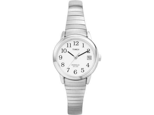 Timex Women's | Silver-Tone Case & Band Date Indiglo White Dial | Watch T2H371
