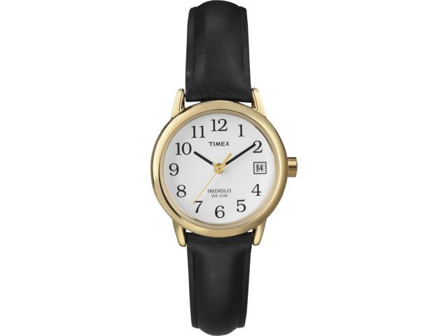 Timex Women's | Gold-Tone Case w Black Leather Strap | Easy Reader Watch T2H331