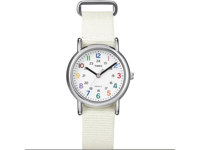 Timex Women's Weekender | Chrome Case White Strap Rainbow Numerals Watch T2N837