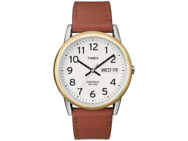 Timex Men's Easy Reader | Two-Tone Case Brown Leather Strap Casual Watch T20011