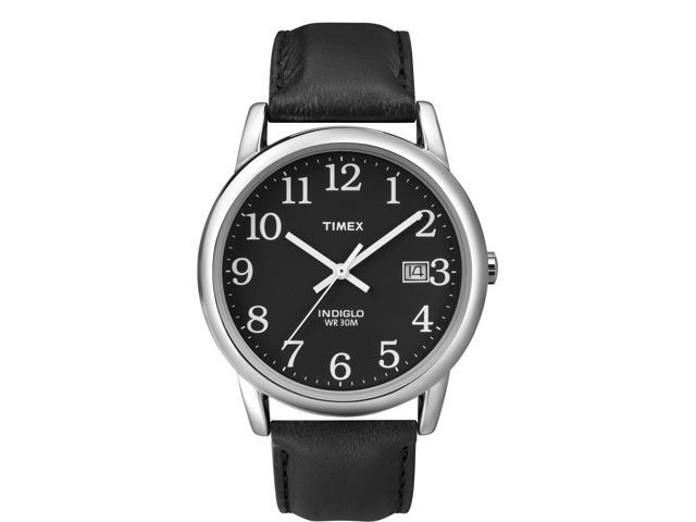 Timex Men's Easy Reader Black Leather Strap w Black Dial |  Casual Watch T2N370