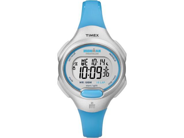 Timex Ironman Women's | Gray Case & Blue Accents | 10-Lap Mid Size Watch T5K739