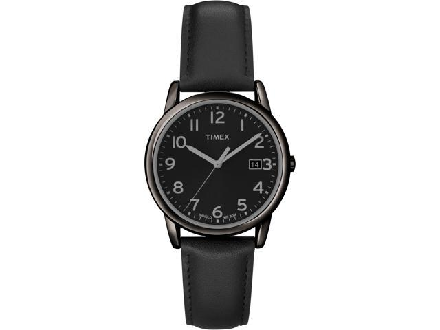 Timex Men's | Indiglo Black Case with Black Leather Strap | Dress Watch T2N947